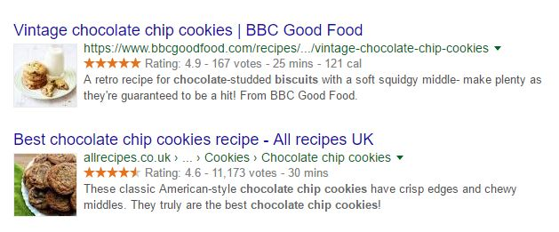 Google Rich Data Example with Chocolate Chip Cookies
