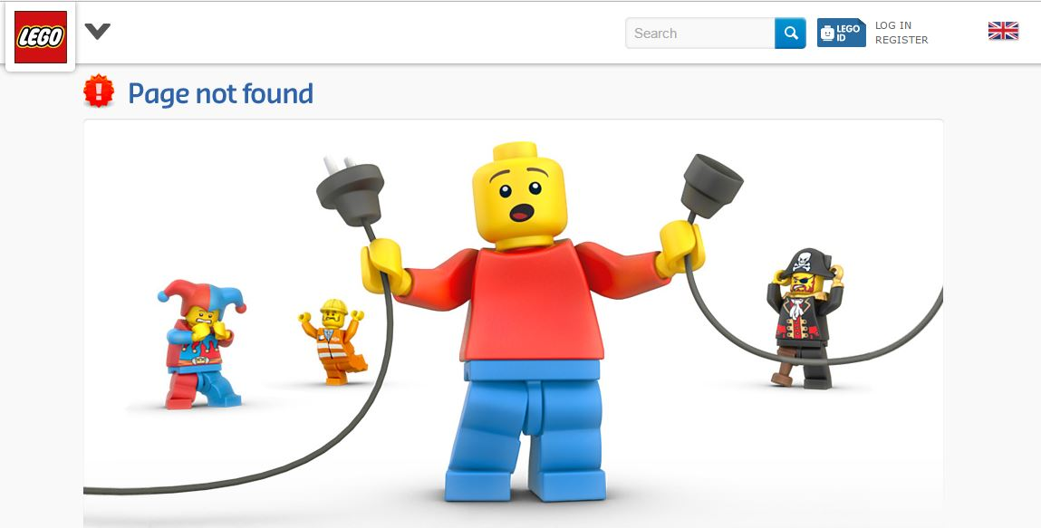 Lego 404 Page Not Found