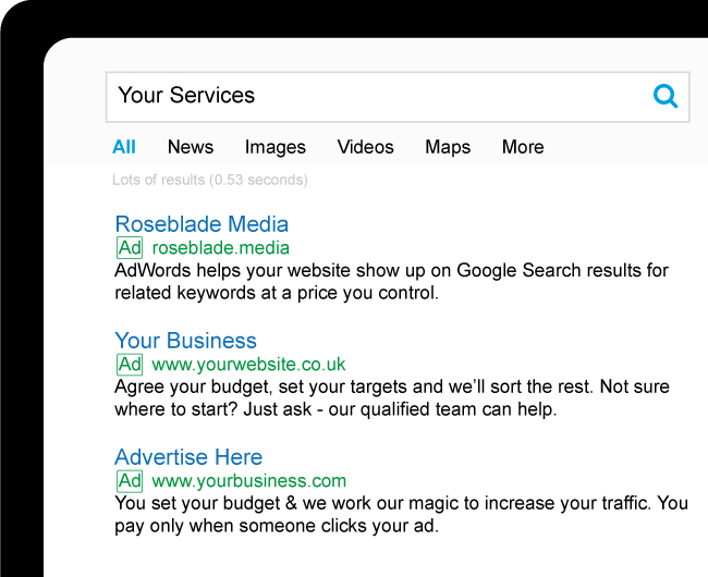 An example of Google search results with ads